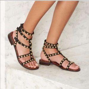 Sam Edelman Elisa Gladiator Black Suede Sandals